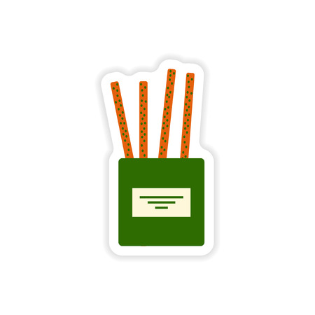 partisan: stylish paper sticker on white background, cheese sticks