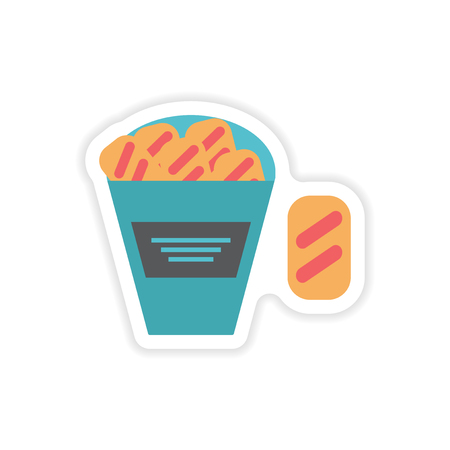 baked potatoes: stylish paper sticker on a white background, snack crackers