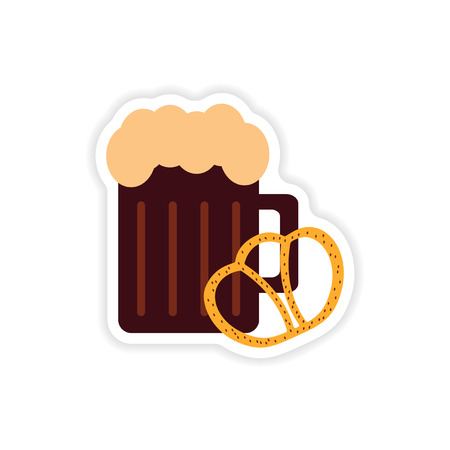 beers: stylish paper sticker on a white background, glass beer snack