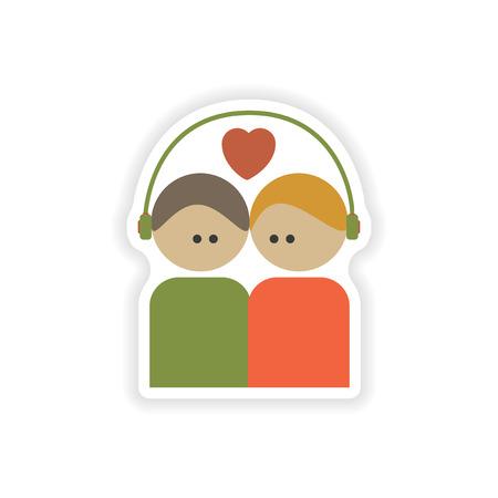 stylish couple: stylish paper sticker on white background, couple in love