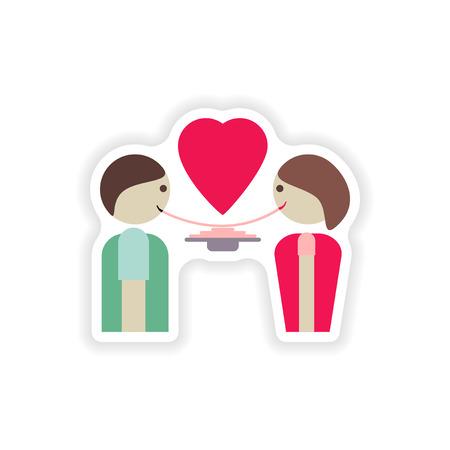 pareja comiendo: elegante etiqueta de papel sobre fondo blanco, los amantes de comer