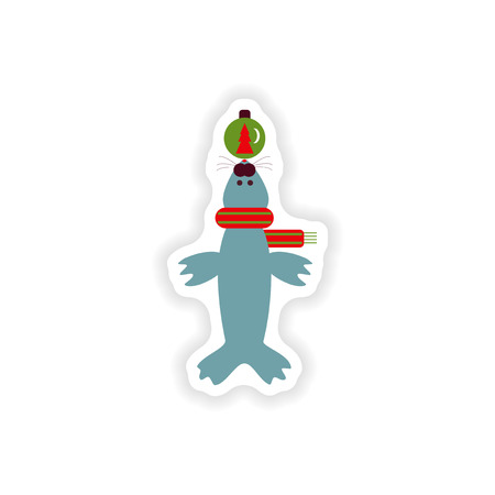 whisker characters: stylish paper sticker on white background, fur seal