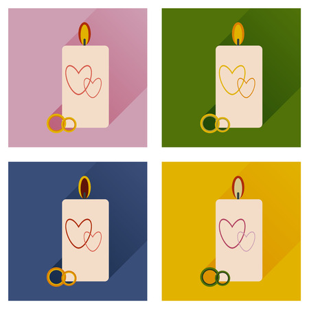 Set of flat icons with long shadow wedding Candle