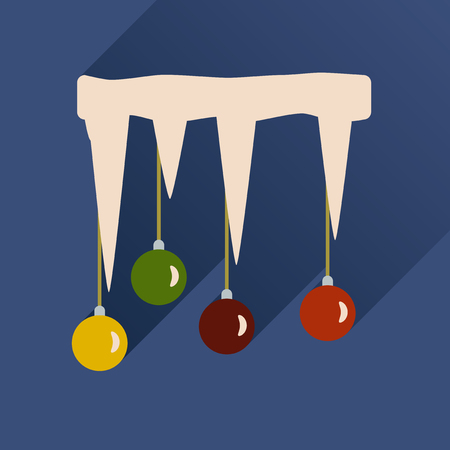 icicle: flat icon with long shadow Christmas balls on icicle