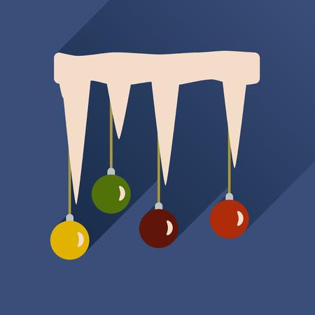 Icona piatta con una lunga ombra palle di Natale su ghiacciolo