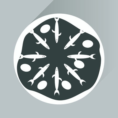 anchovy: Flat with shadow Icon pizza and tuna