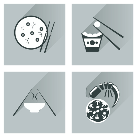 salmon dinner: Modern flat icons vector collection with shadow Japanese dishes