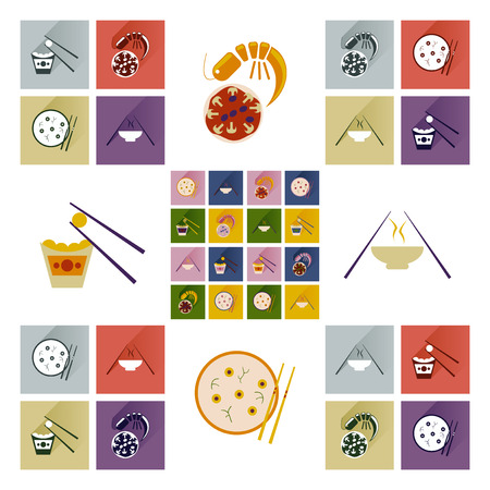 Modern flat icons vector collection with shadow Japanese dishes Stock Vector - 50291775