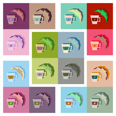 continental food: Modern flat icons vector collection with shadow coffee and croissant