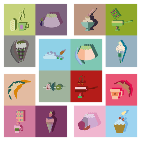 toffee: Modern flat icons vector collection with shadow sweet fastfood