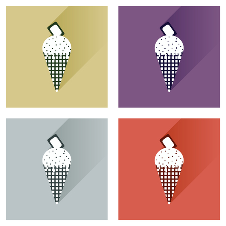 ice cream chocolate: Modern flat icons vector collection with shadow ice cream chocolate