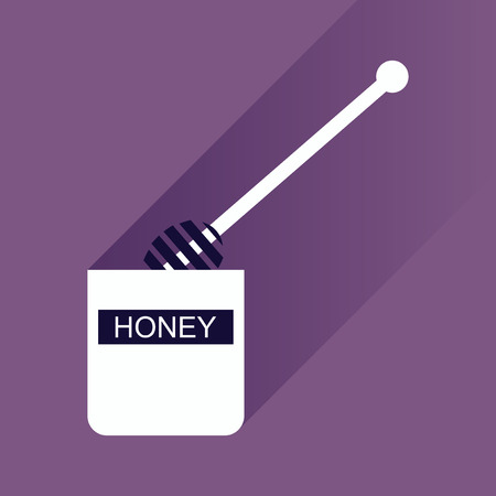 curative: flat icon with long shadow jar of honey