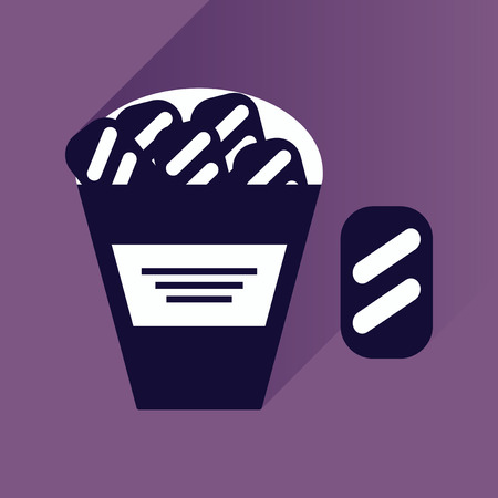 snack: flat icon with long shadow snack crackers