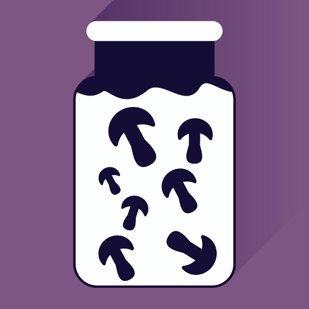 pickled: flat icon with long shadow pickled mushrooms Illustration