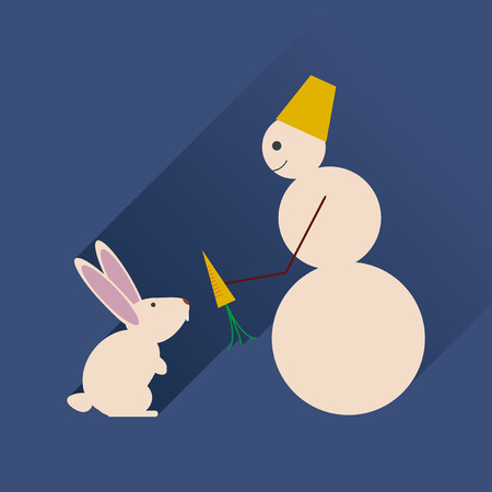 Flat web icon with long shadow snowman and rabbit