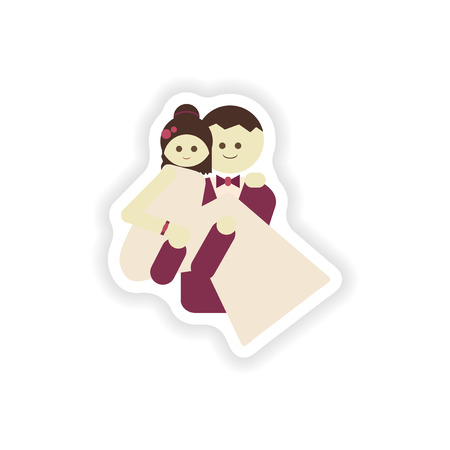 carries: stylish paper sticker on white background groom carries his bride