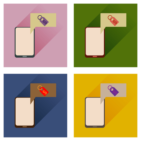 functionality: Concept of flat icons with long shadow mobile money Illustration