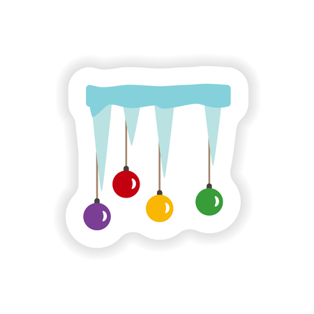 icicles: stylish paper sticker on white background icicles Christmas balls Illustration