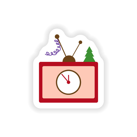 watch new year: stylish paper sticker on white background TV Christmas Tree Illustration