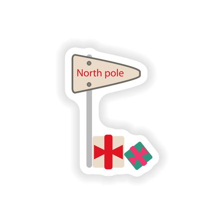 frigid: stylish paper sticker on white background pointer North Pole Illustration