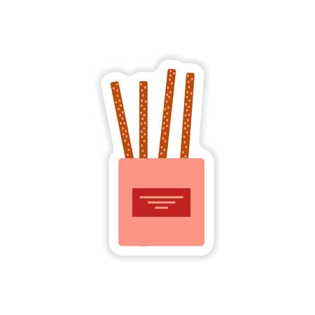 partisan: stylish paper sticker on white background cheese sticks Illustration