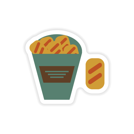 crackers: stylish paper sticker on a white background snack crackers