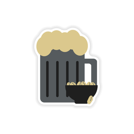 porter: stylish paper sticker on white background glass beer peanuts