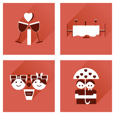 dinner date: Set of flat web icons with long shadow Valentines Day