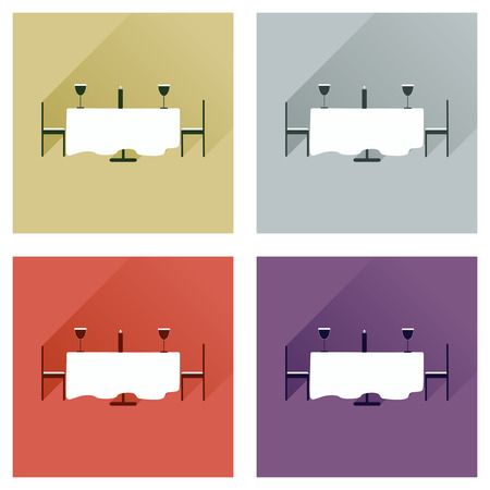 romantic dinner: Set of flat web icons with long shadow romantic dinner