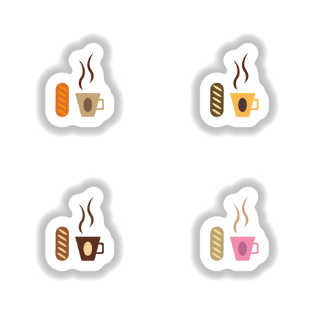 bun: Set stylish paper stickers Cup of coffee and a bun