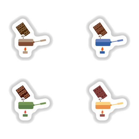 chocolate brownie: Set stylish paper stickers chocolate fondue on candle Illustration