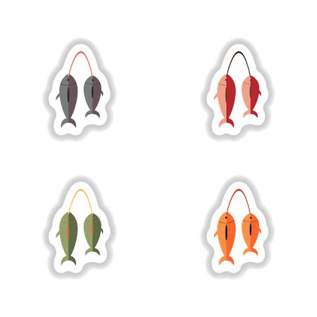 dorado: assembly stylish paper stickers fresh marine fish