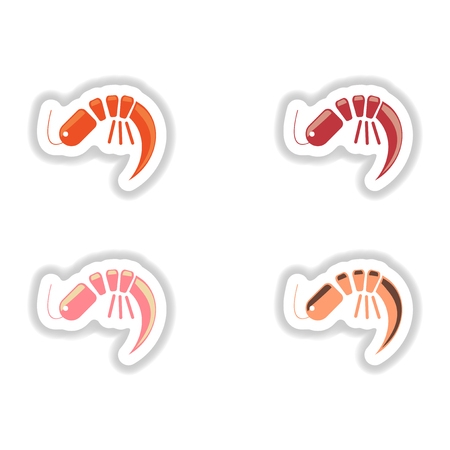 assembly of stickers on a white seafood shrimp Illustration