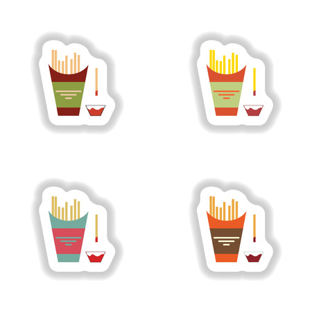 frites: assembly paper stickers on white fries and ketchup