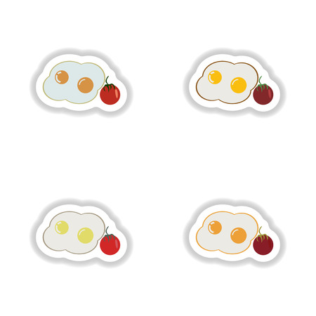 grease: assembly paper stickers fried eggs with tomatoes
