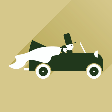 nuptial: flat icon with long shadow bride and groom in car