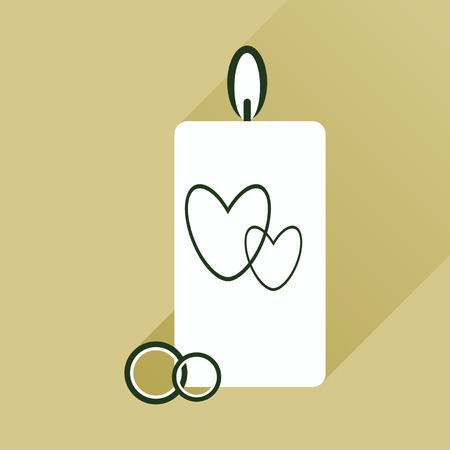 flat icon with long shadow wedding Candle Vettoriali