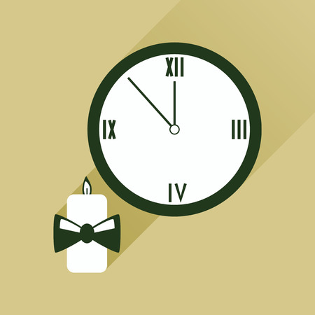 watch new year: flat icon with long shadow Christmas candle and watch