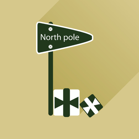 north pole: flat icon with long shadow North Pole