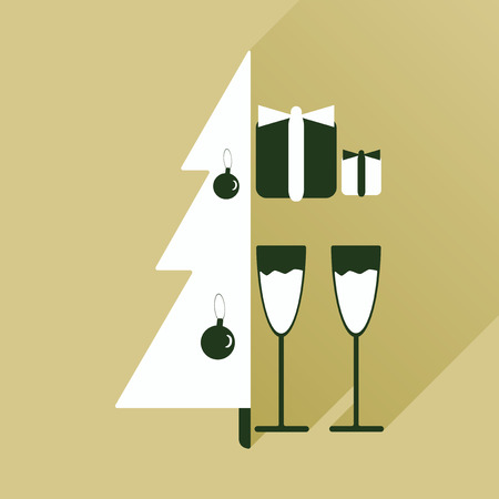 christmas gifts: flat icon with long shadow Christmas tree gifts glasses Illustration