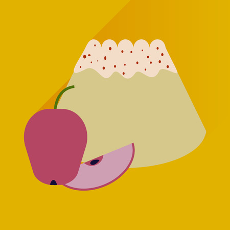 fruitcakes: Flat with shadow Icon bun apple on bright background