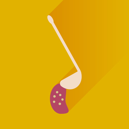 ladle: Flat with shadow Icon ladle soup on bright background