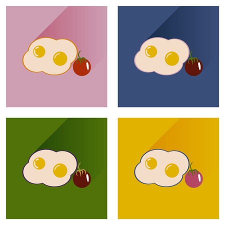 fried eggs: Modern flat icons vector collection with shadow fried eggs tomato Illustration