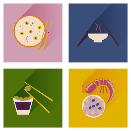 fried noodles: Modern flat icons vector collection with shadow Japanese dishes