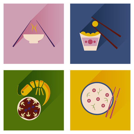 Modern flat icons vector collection with shadow Japanese dishes Stock Vector - 51710365