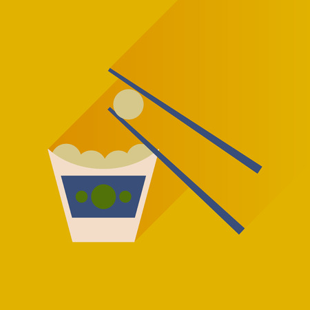 Flat with shadow Icon Chinese cheese balls Illustration