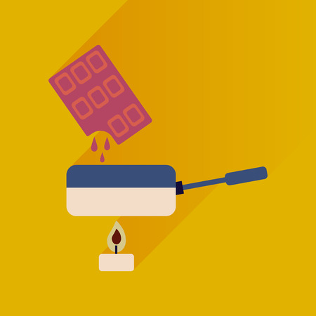 fondue: Flat with shadow Icon chocolate fondue on bright background