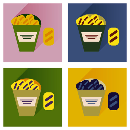 savoury: Vector set flat icons with long shadow snack crackers Illustration