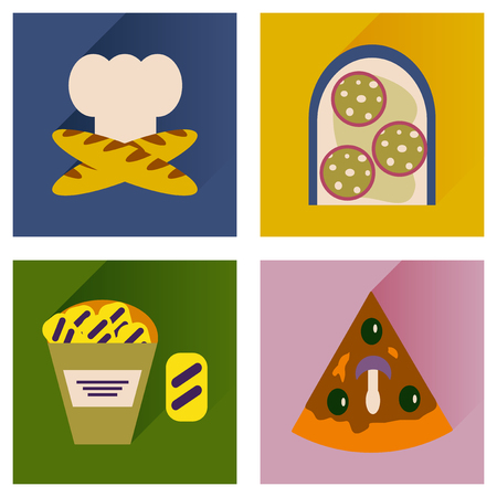 poor diet: Vector set flat icons with long shadow junk food