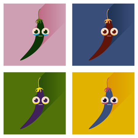 chilli pepper: Vector set flat icons with long shadow chilli pepper